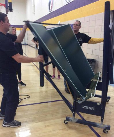 Ping-pong table breaks during class