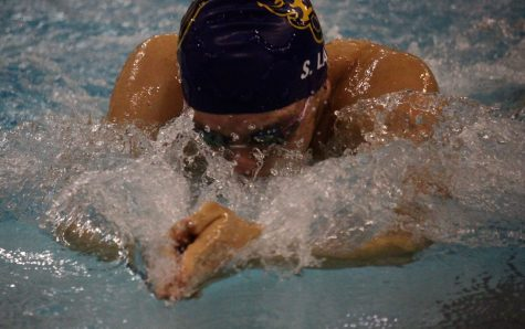 Swim teams fall short against Dowling Catholic