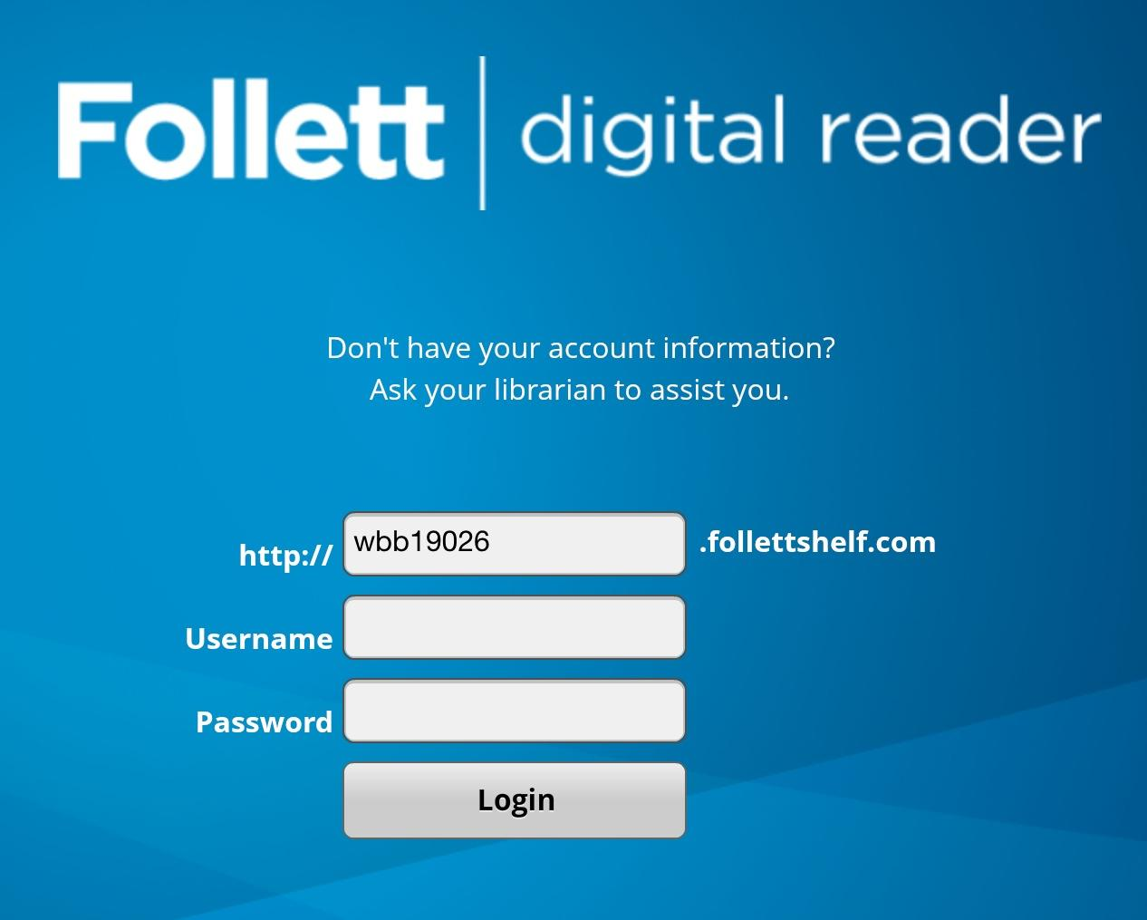 The district login code is needed as pictured above to access the online library.