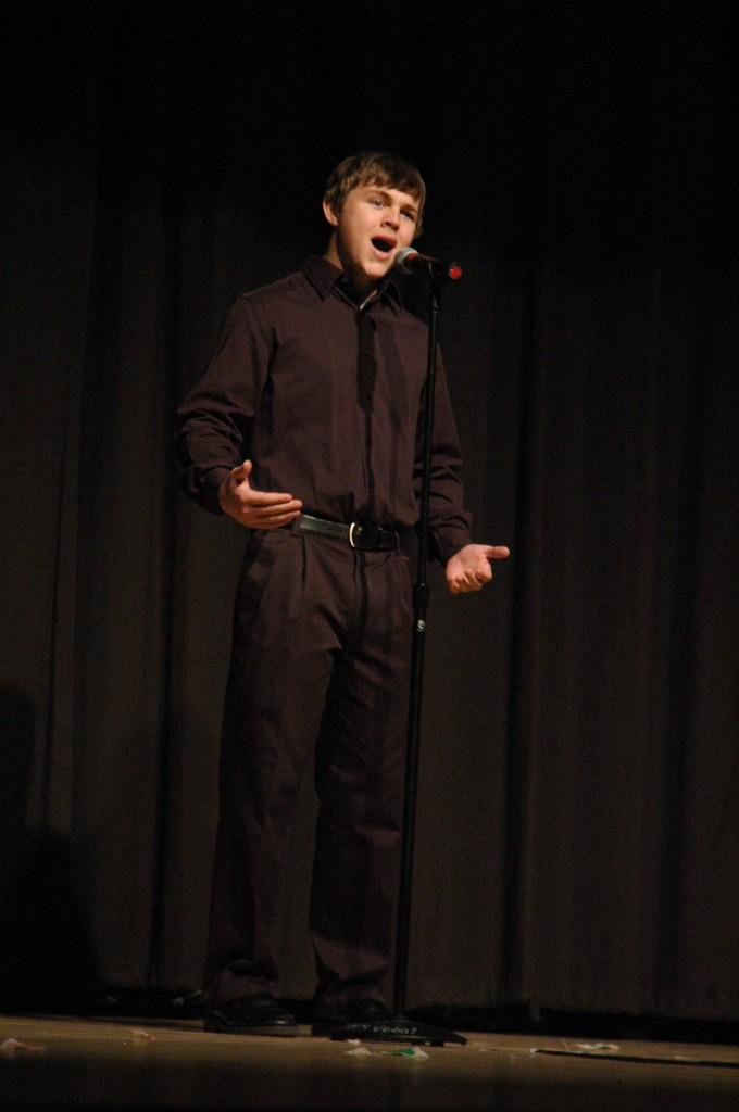 The winner of Johnston Big Give's talent show was junior Andrew Mills who performed his poem