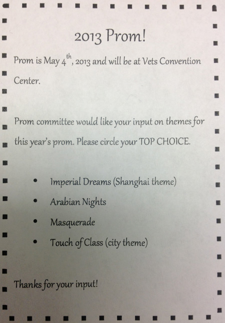 Prom theme announced