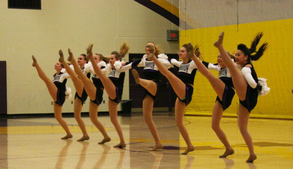JV dance team dances their pom routine. All dance team members will attend a banquet March 29 to recognize their accomplishments over the year.