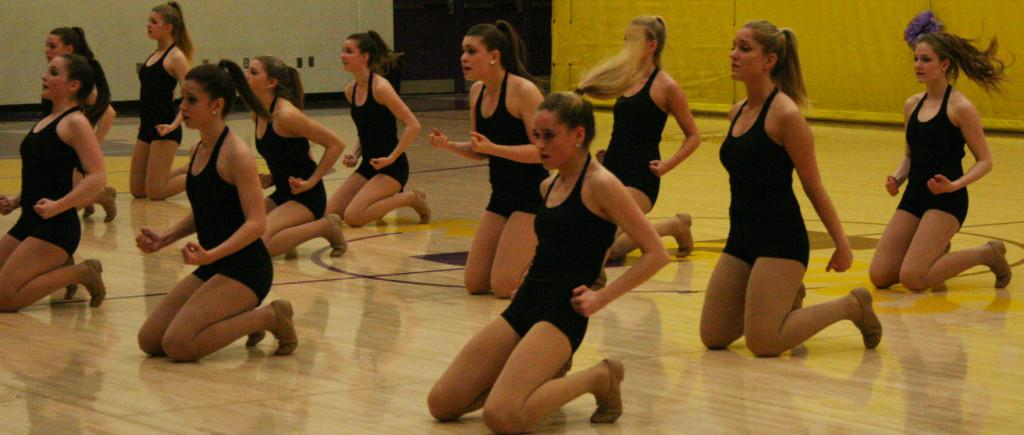 Varsity dance team dances to the song