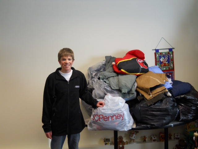 Harrison Kruse donated numerous coats to the Youth Homes of Mid-America. Kruse has collected these coats through four different coat drives.