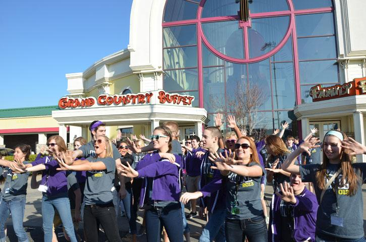 Innovation performs in front of Country Breakfast Buffet on April 6. The group drove all night on April 5 and arrived to have breakfast then head off for a full day in Branson.