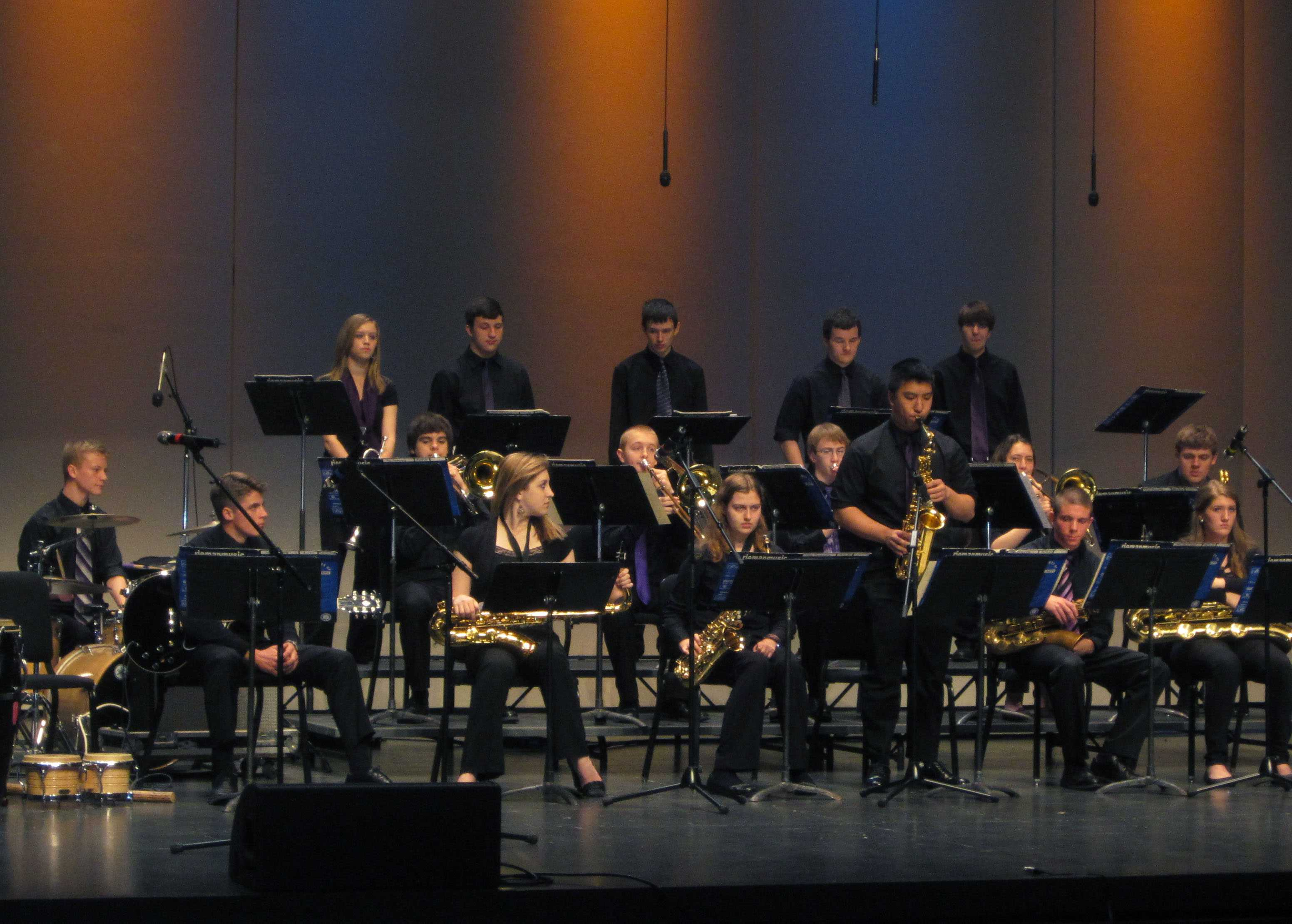 Sophomore Tim Zuo plays the alto sax during an improvised solo on