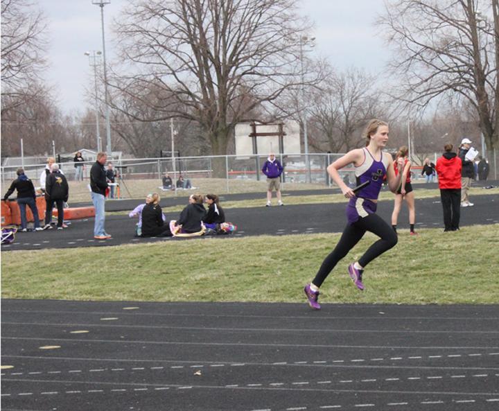 Sophomore Rebekah Trost runs in the Valley track meet.