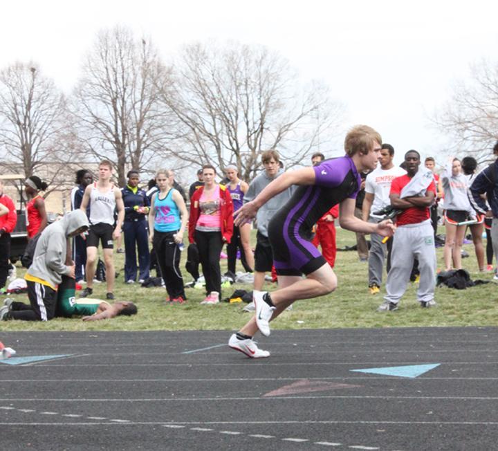 Junior Matt Larson starts a race strong at the Valley track meet.