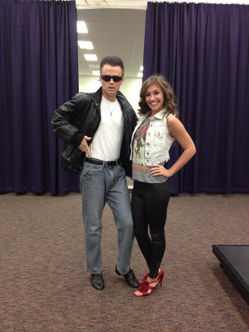Mismatch/decade day: (from left to right) juniors Tyler Davis and Stephanie Graham