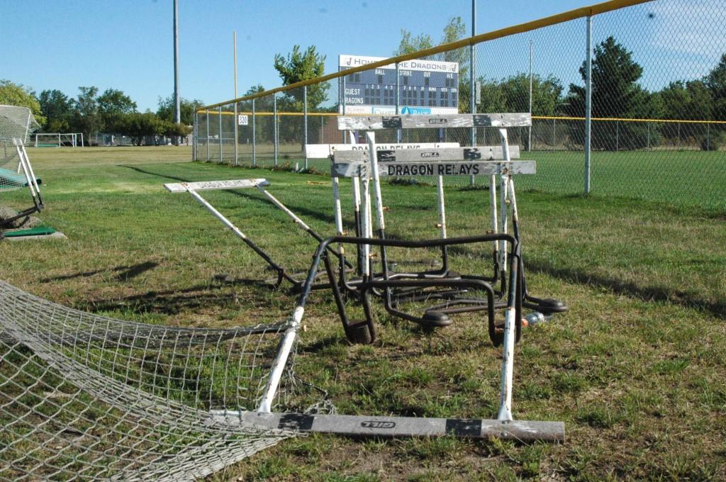 Hurdles from the track team knocked over from the storm on Sept. 19.