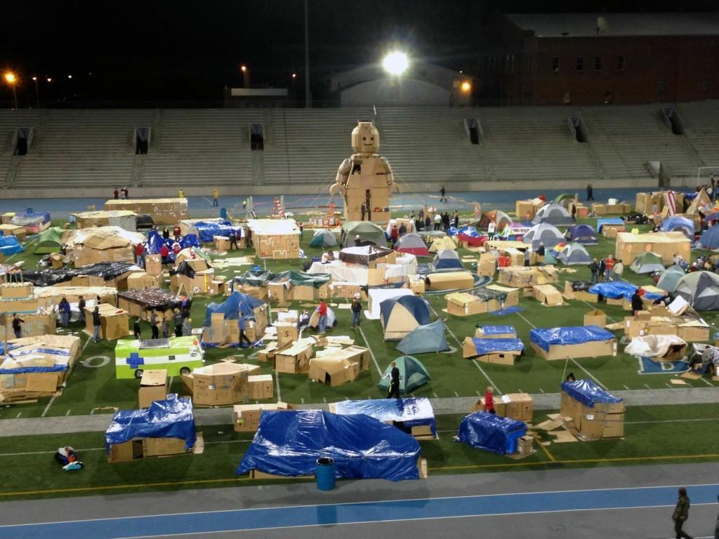 Cardboard structure, Buster, stands out in Reggie's Sleepout 2013.