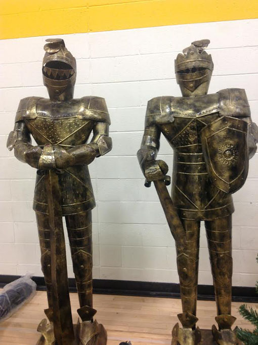 The knights in shiny armor to add to the setting stand tall and intimidating while in wait to be put in their place. Madrigal performances were on Friday December 6 and Saturday December 7.