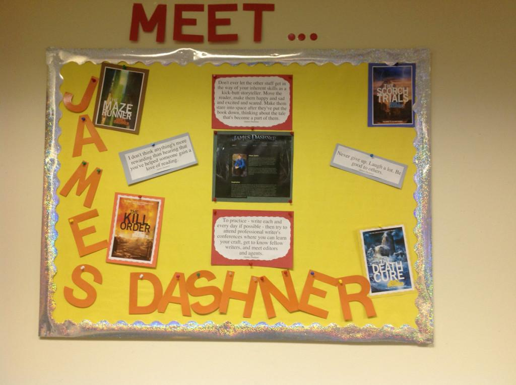 The library board on the southwest wall of the LMC. The board goes through a change about once every 6 weeks. This board features James Dashner, author of books such as The Death Order and The Maze Runner.