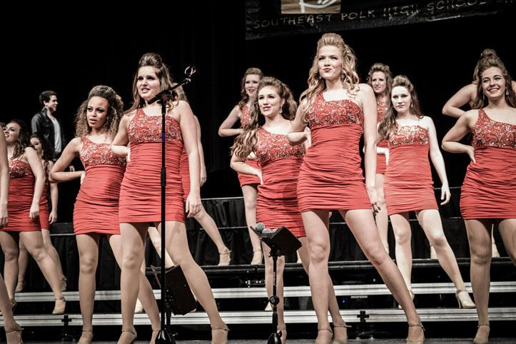 Innovation girls sing Rumor Has It during their competition at Southeast Polk Feb. 28.  Innovation won grand champion for the fifth time this season.