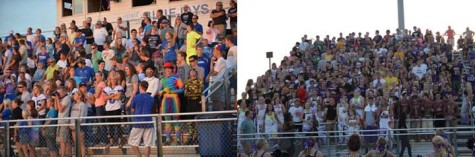 On the left Bondurant's student football section is compared to the student section of Johnston, on the right. Bondurant is classified as 2A school where as Johnston is a 4A school. The students' attendance shows the difference in the size of the schools.
