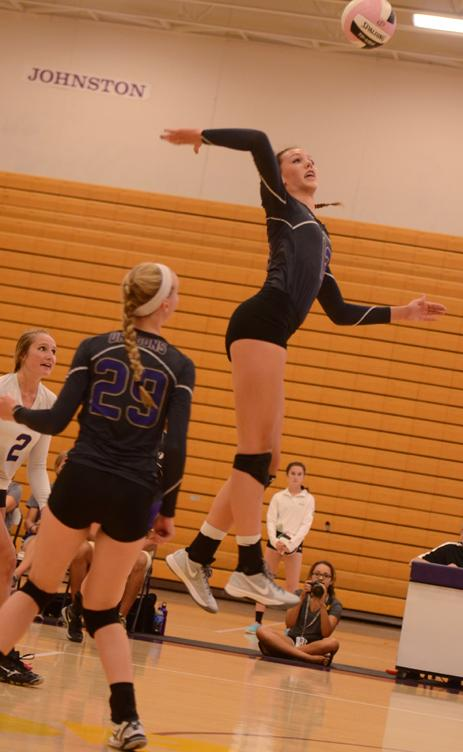 Sophomore+Taryn+Knuth+spikes+the+ball+at+the+home+game+Sept.+9.+Knuth+helped+the+Dragons+win+against+Ankeny+Centennial+Sept.+18+2-0.
