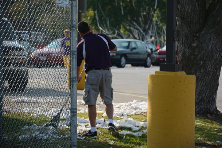 Volunteers and ARC employees came to help clean up the lanyards, vandalism and toilet paper.