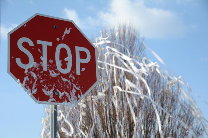 Students drew sexual drawings on the night of Thursday, Sept. 25 on the stop sign that were scrubbed off this morning.