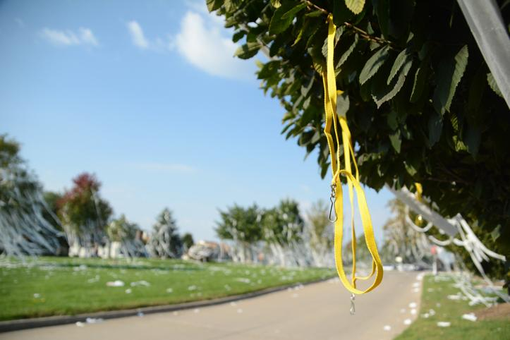 Along with toilet paper, students covered the high school with yellow lanyards.