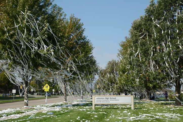 During the night of Thursday, Sept. 25, students began vandalizing the high school, instead of only the annual activity of TPing the trees on campus.