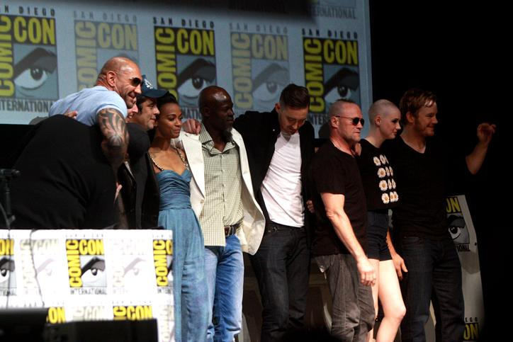The+cast+and+crew+of+Guardians+of+the+Galaxy+pose+for+photos+at+the+2013+San+Diego+Comic-Con+International.+