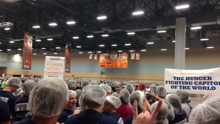 Hundreds of high school students package meals at the student challenge night of Meals From the Heartland. On Aug. 27, over 375,000 meals were packaged by students from around the metro.