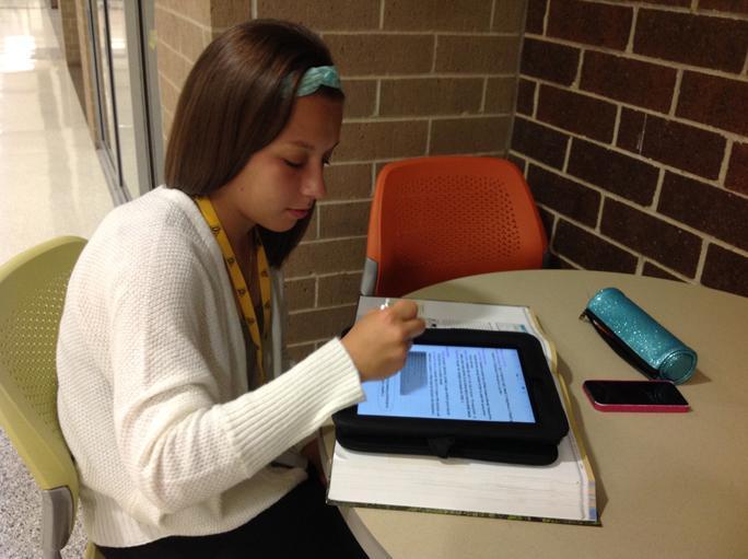 Senior Sandra Kromminga does homework during her free period. Kromminga had a free period during her junior year as well.