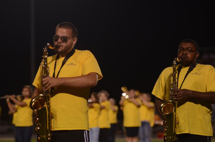 Senior Connor Smith and sophomore DaShaun Payne belt out the music. The band scored Superior for their performance at state.
