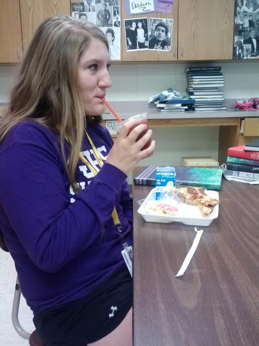 Senior Shana Hudson drinks an Apple Cherry Chill during B lunch. Apple Cherry Chill is one of the six smoothies provided by the JambaGo self-service machine.