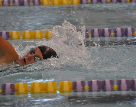 Shayla Warrick races in the 100 freestyle, and finishes second during the Marshalltown meet. Warrick will be racing at state Nov. 8 in the 100 freestyle, 200 freestyle relay and 400 freestyle relay.