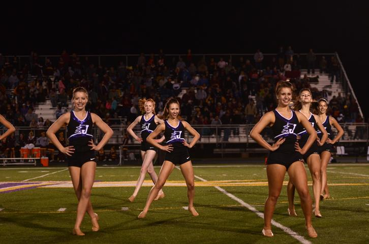 The dance team performs during one of their football halftime performances. The team placed fifth in their jazz dance at the state dance competition Dec. 5.