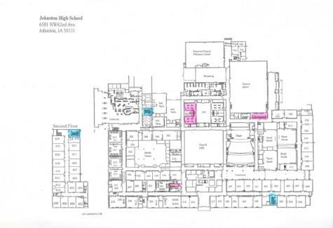 This map of the school indicates where the current dispensers are (in pink) and where more must be added (in blue). The cost of adding three more would be $1,050 at $350 a piece, the same price as the first three.