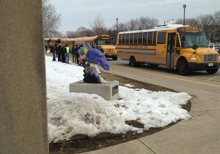 Buses line up in front of the high school to take students home after school Feb. 10. Given the state's inspections these buses are safe to travel on.