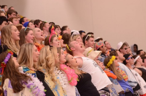Cheerleaders lead the crowd in a cheer during a time-out. The Dragons beat the Maroons 69-64.