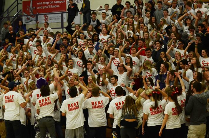 During half time the student section flash mob to the interlude. Johnston lost 53-63 against Urbandale.