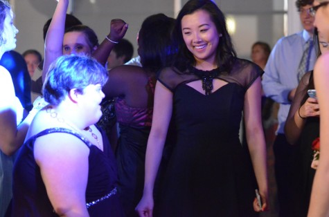 Sophomore Becky Scoles dances with senior Selena Young. The two danced almost all night. The Friendship Ball was held on March 28th.