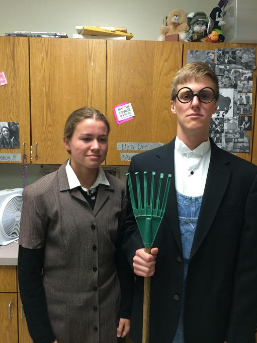 Seniors Anne Rogers and Ben Poss dress as the family from
