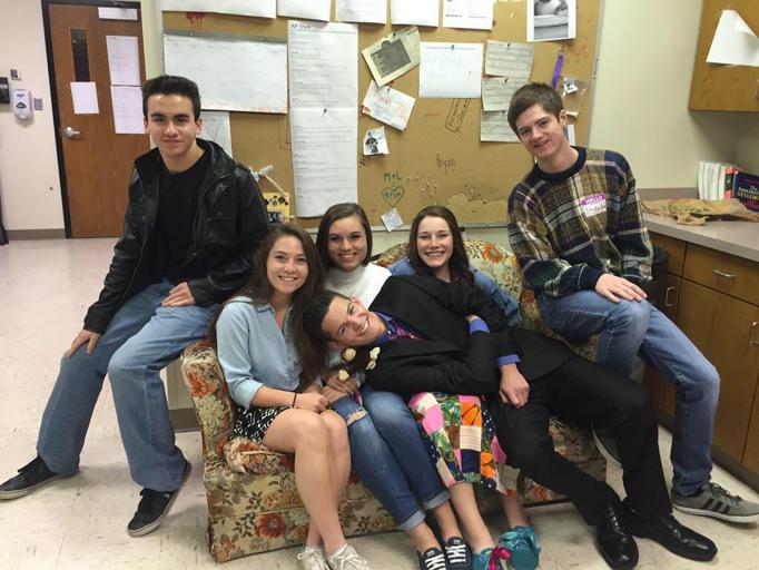 Juniors Morgan Stutzman, Anne Wallace, Sami Schaer, Sarah Henry, Adam Friesth and senior Zach Walker dress as the cast from the TV series