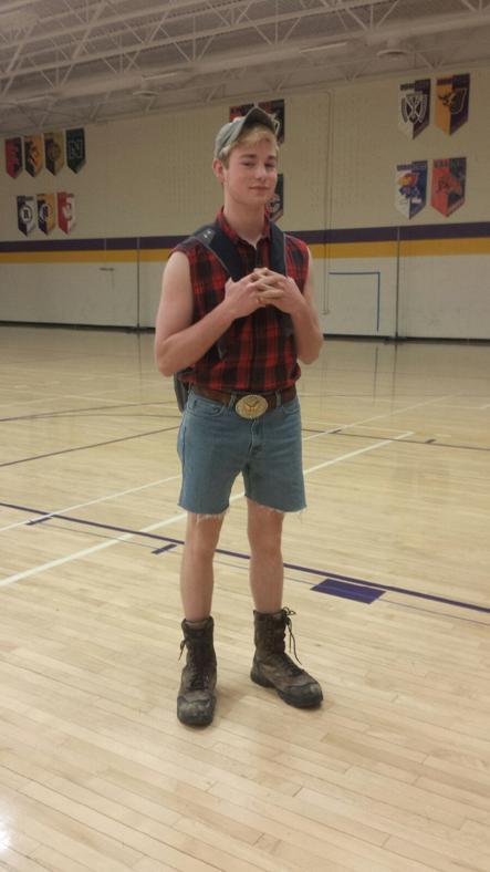 Senior John Mullen dresses for Farmer/Iowan day.