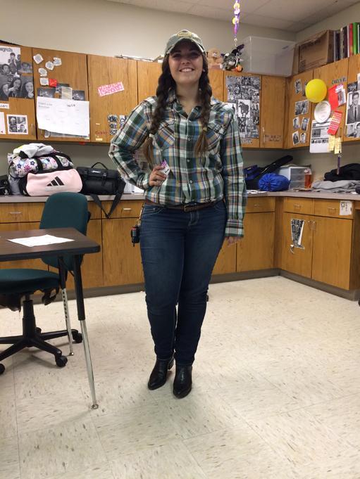 Senior Carly Kinning dresses for Farmer/Iowan day.