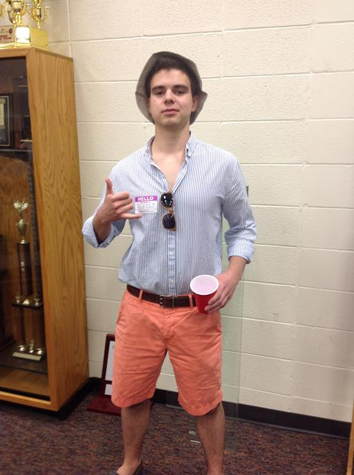 Senior Elliot Suiter dresses as a party animal for Animal day.