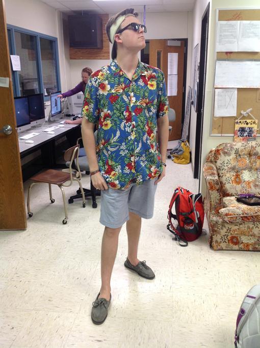 Junior Joe Thatcher dresses for Beach day.