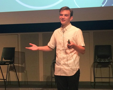 Junior Bryce Schulte speaks about his bullying experiences during the Pioneer event. Members of GSA were invited to the anti-bullying conference that was hosted on Oct. 2 at Pioneer.