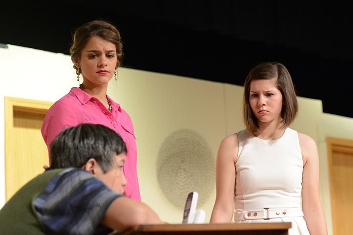 Watching Max Mercedes, junior Ben O'Connell, with worry Abby Harper, junior Avery Gathercole, and Beth Jeffers, senior Becca McDowell, wait for Mercedes to snap out of his thought. The cast and crew preformed the play Oct. 30 and 31 at 7 p.m. and on Nov. 1 at 2 p.m. in the auditorium.