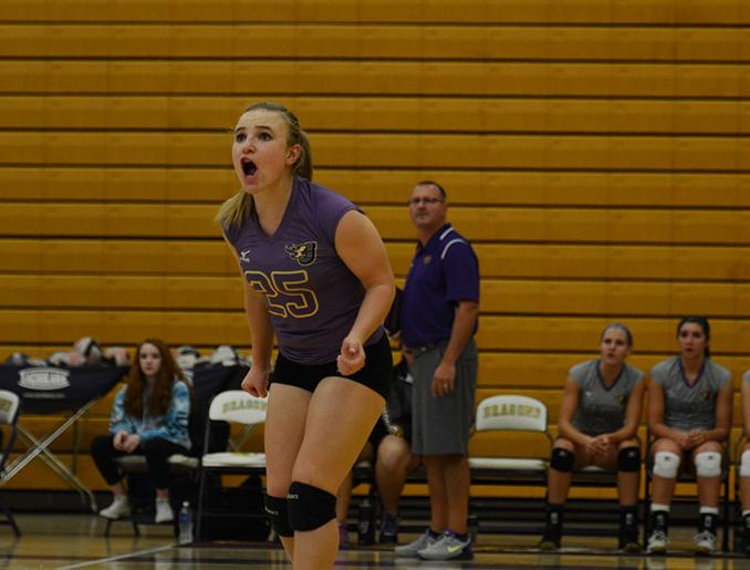 Sophomore+Alisha+Rusch+screams+instructions+to+her+teammates+during+the+first+quarter+of+the+match.+Rusch+was+selected+Player+of+the+Match+with+20+strong+digs+during+the+regional+final+against+SE+Polk.+