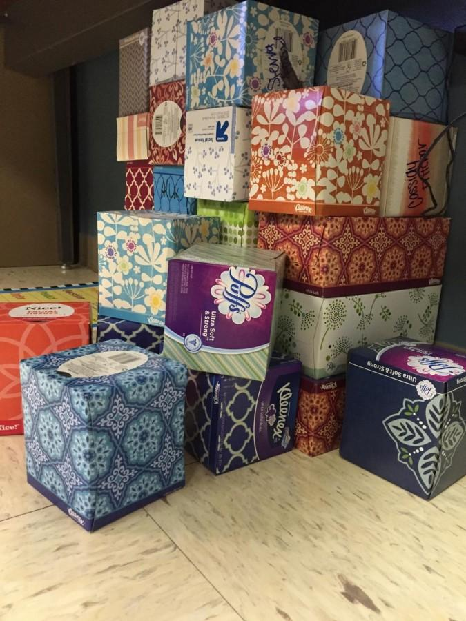 Kleenex boxes still remain on Dowell's floor from an extra credit opportunity offered last year. Students brought in an overwhelming amount of boxes, this opportunity is not being offered this year.