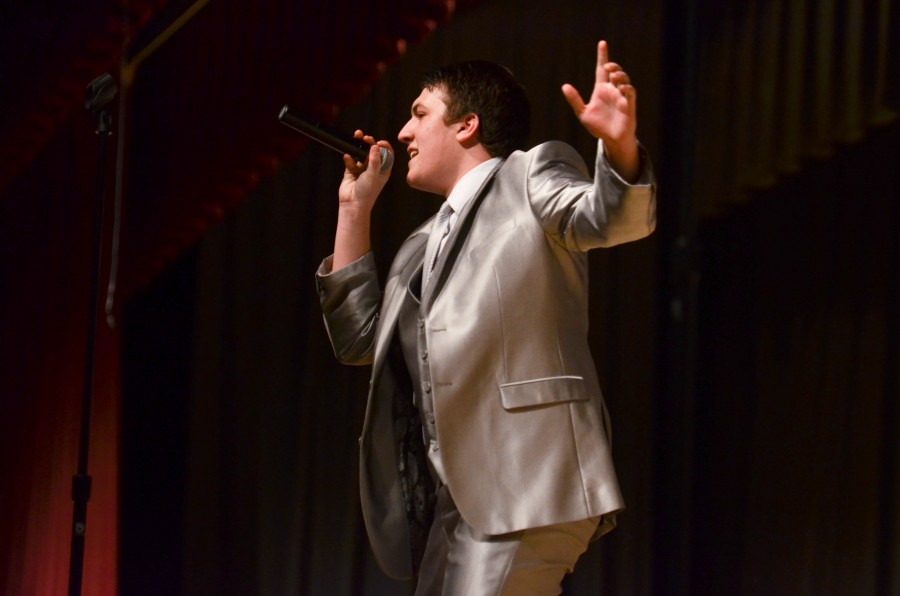 During his solo for Trespassing by Adam Lambert senior Drew Hendrickson hits a high note. Innovation, along with Synergy, performed in front of family and fellow students Jan. 11 beginning at 8:30 p.m.