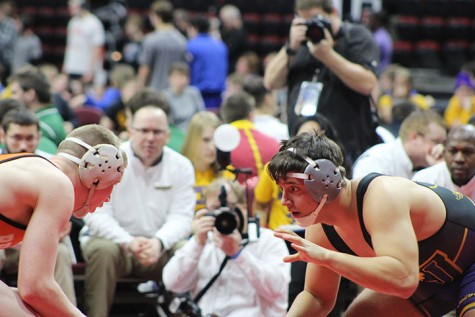 Wrestling places third in state duals