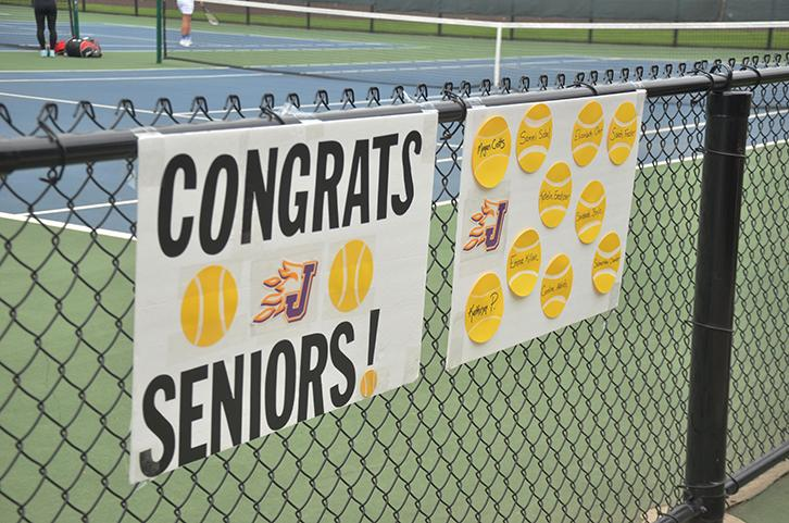 A sign was created for senior night, with names of all those graduating. The players also received yellow flowers and sand castle buckets full of goodies.
