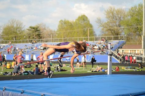 Junior Ellie Roquet placed first at the meet April 25. She jumped a height of 5 feet and 2 inches.